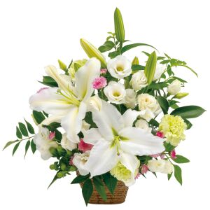 Sympathy arrangement in white with some pastel colors